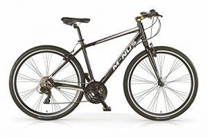 Vélo Hybride VTC MBM Minus pour hommes, cadre en aluminium, 21 vitesses, pneu 28″, couleur noir, fourche à suspension optionelle. (Sans fourche à suspension, 54)