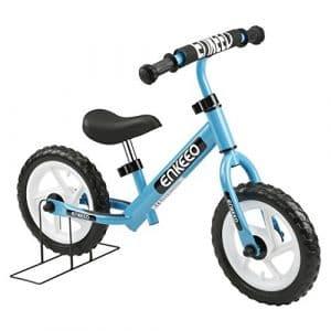 Enkeeo 12″ Enfant-Vélo Draisienne Sans Pédalier Pour 2~6 Ans Enfants, Cadre en Acier au Carbone, Guidon et Siège Réglables, Capacité de 50 kg (Bleu)