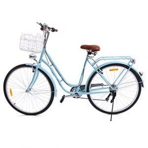 Ridgeyard 28 pouces Vélo hollandais ville pour femme de vélo,vélo hollandais à 7 vitesses Femme City Bike Outdoor Sports City vélo Shopper vélo Light Blue+basket+Bell+batterie-alimenté lumière
